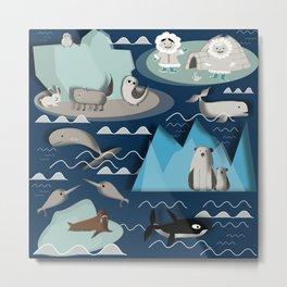 Arctic animals blue Metal Print