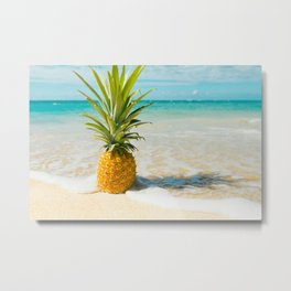 Pineapple Beach Metal Print
