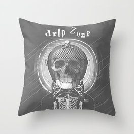 Drop Zone B&W old poster Throw Pillow