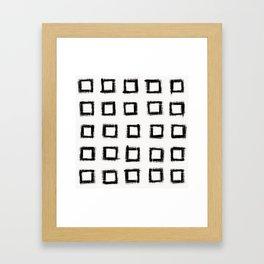 Square Stroke Dots Black and White Framed Art Print