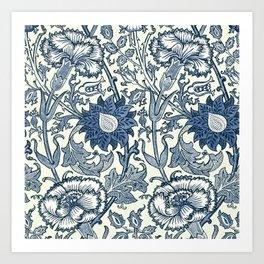 William Morris Navy Blue Botanical Pattern 5 Art Print
