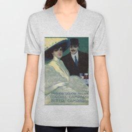 Vintage 1910 Campari Advertisement by Gian Emilio Malerba Unisex V-Neck