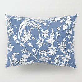 Papercut Garden, blue and white Pillow Sham