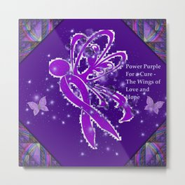 Power Purple For a Cure - The Wings of Love Metal Print