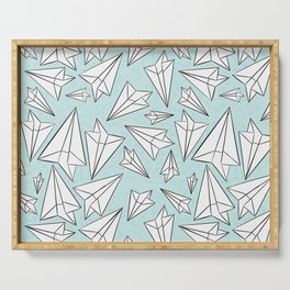 Paper Airplanes Mint Serving Tray