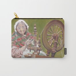 Old Irish Woman Sitting At A Spinning Wheel Carry-All Pouch