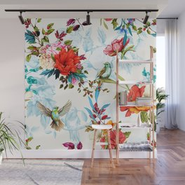Poppy, wild blossom, rose, nightingale birds with leaves on flower background with humming bird. Wall Mural