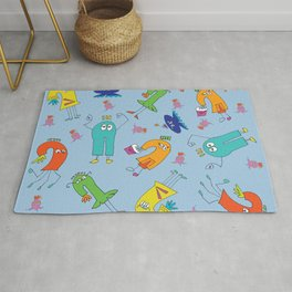 Monster Kid Party Blue Rug