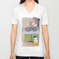 cooking V-neck T-shirts featuring Cooking Classes by Irène Sneddon