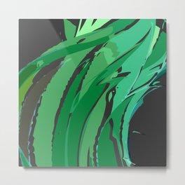 Dark Green Abstract Waves Metal Print