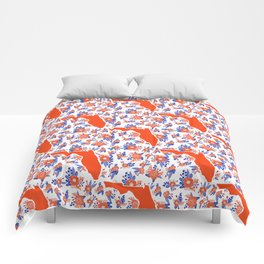 Florida University silhouette orange and blue pattern sports football college gators gator fan Comforters