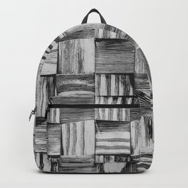 Vintage Wood Block // Black and White Wooden Texture Wall Background Accent Decoration Backpack
