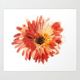 Watercolor fashion red dahlia Art Print
