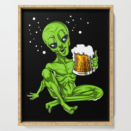 Alien Drinking Beer Space Party Serving Tray