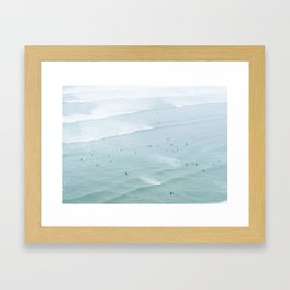 Tiny Surfers from the Sky 2, Lima, Peru Framed Art Print