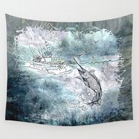 fishing Wall Tapestries featuring Fishing swordfish by Menchulica