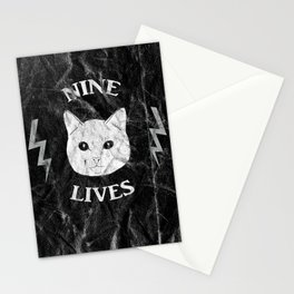 Nine Lives Black Background Stationery Cards