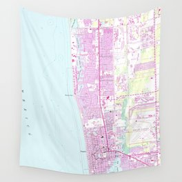 Vintage Map of Naples Florida (1958) Wall Tapestry