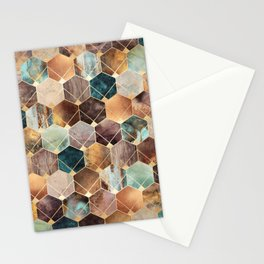Natural Hexagons And Diamonds Stationery Cards