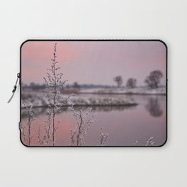 Winter Sunset At River Bank Laptop Sleeve