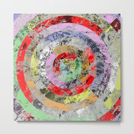 Marble Bullseye - Abstract, Multi Coloured, Marble Patterned Art Metal Print