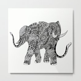 Snakelephant Indian Ink Hand Draw Metal Print
