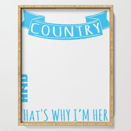 """A Music Tee For Country Boys Mas Saying """"Country Music And Beer That's Why I'm Here"""" T-shirt Design Serving Tray"""