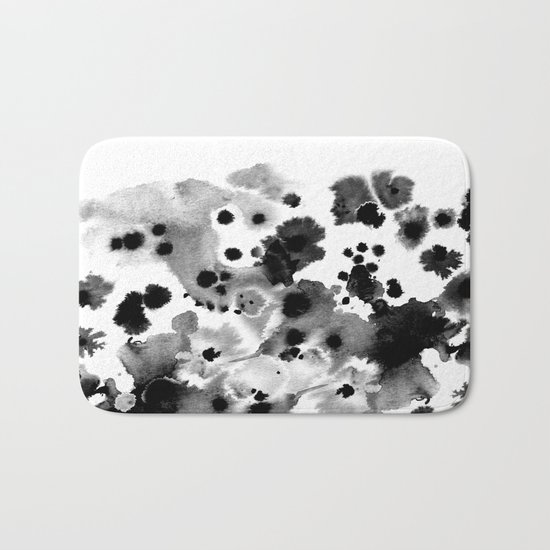 Rania - abstract black and white minimal scandi painting pattern ink Bath Mat