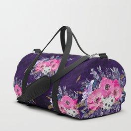 Romantic gold and purple floral design Duffle Bag