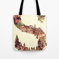 scotland Tote Bags featuring S is for Scotland by Kelly Chilton