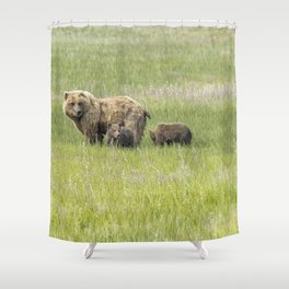 Mother Brown Bear With Her Two Cubs, No. 1 Shower Curtain
