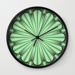 Abstract Flower in Green Wall Clock