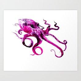 Pink Purple Octopus, sea world, aquatic, beach house octopus artwork Art Print