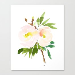 Watercolor Florals - Pink Roses - Blush Flowers by Dear Lily Mae Canvas Print