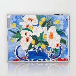 Queen of California - Giant Matilija Poppy Bouquet in Lion Vase on Blue Laptop & iPad Skin