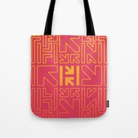 pacman Tote Bags featuring PACMAN by HERENOW