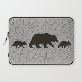 Grizzly Bear Family. Mama Bear with Cubs. Laptop Sleeve