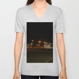 Train and Bus stop in Germany by night Unisex V-Neck