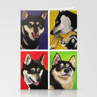 shiba inu Stationery Cards featuring Shiba Inu Pop Art by Sasha Rad