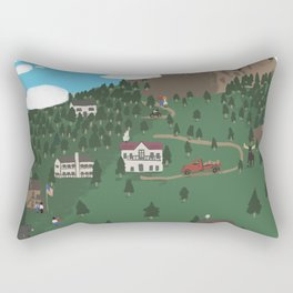 Mountain Town Illustration Rectangular Pillow