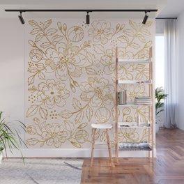 Gold Roses Wall Mural