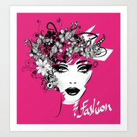 fashion illustration Art Prints featuring fashion illustration by Irmak Akcadogan