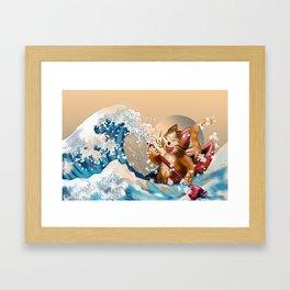 Cat in a kayak in the wave off Kanagawa Framed Art Print