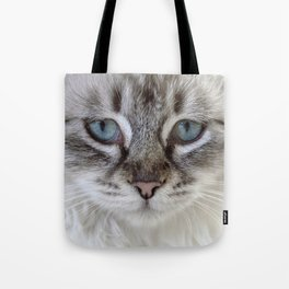 Cat with Blue Eyes Tote Bag