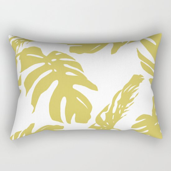 Simply Mod Yellow Palm Leaves Rectangular Pillow