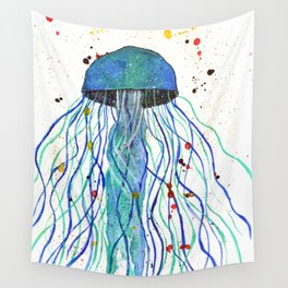 Watercolor Blue Jellyfish Wall Tapestry
