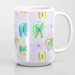 Butterflies and Squares Pattern Coffee Mug