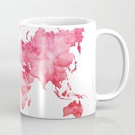 Raspberry watercolor world map Coffee Mug