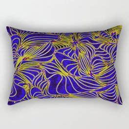 Curves in Yellow & Royal Blue Rectangular Pillow