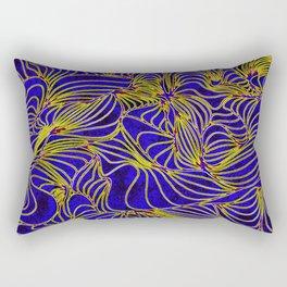 Curves in Yellow & Royal Blue Rectangular Pillow